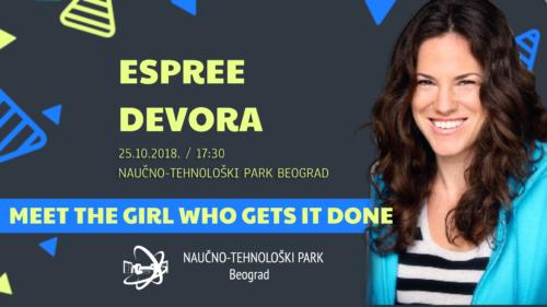 Druženje sa Espri Devorom 23. oktobra 2018. u co-working prostoru NTP Beograd